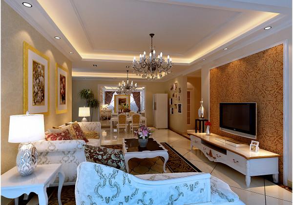 客厅和餐厅以简约、淡黄色壁纸为主基调,餐厅墙面做了镜面处理增加整个居室豪华,电视墙通过造型来凸出层次,客厅地面采用拼花体现了主人于众不同。沙发造型是欧式的家具,白色简约。