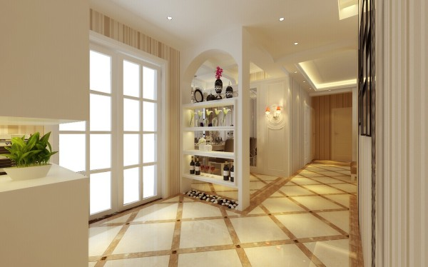 设计师在入户玄关的地方,做的是一个通顶大鞋柜,下面用于摆放鞋子,中间可以摆放一些小绿植,上层则增加了储物空间。入户对着的餐厅酒柜,原本是实体墙改造而成的,看上去是不是别有一番感觉?