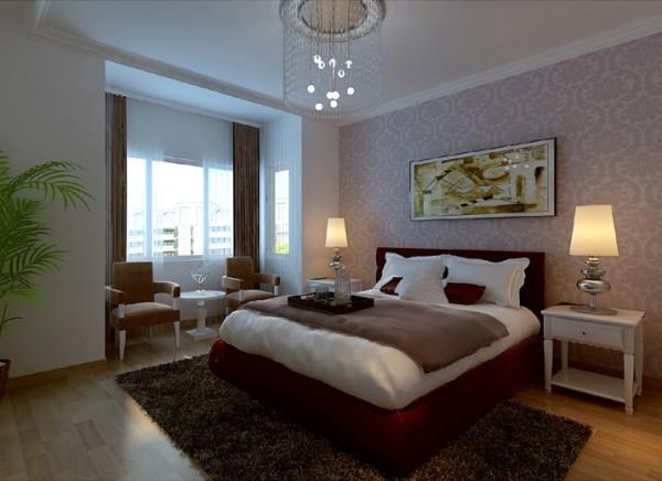 【成都实创装饰】绿地世纪城—温馨大方 现代三居—整体家装—卧室装修效果图 酒红色的床使原本清新.雅致的卧室更多了份低调的奢华.