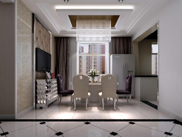 软包的餐厅墙,配上纯白的欧式家具,大气的水晶灯,风格感十足。