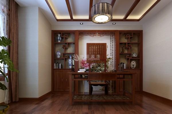 用实木做框,层次清晰,漆成花梨木色。