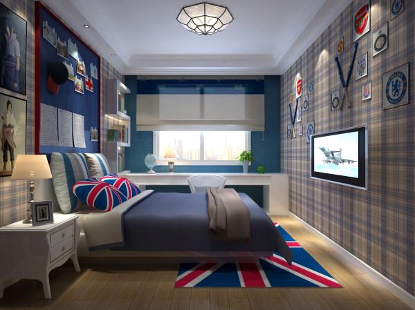 卧室大面积采用米字旗图案,凸显欧式的文化底蕴