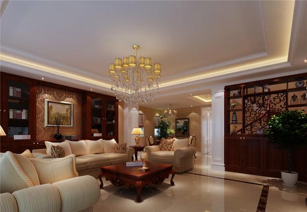 鹅黄色布艺沙发,古典欧式花纹壁纸装饰的电视墙,勃勃生机的绿植,使整个空间灵动,高贵,典雅。 亮点:整面墙的落地窗,点缀着云朵般洁白的纱帘,整个房间都沐浴在阳光里,温暖,明亮,惬意。