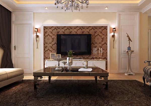 欧式的电视墙,欧式的造型,搭配上深色的暗花壁纸,使风格更加显著。