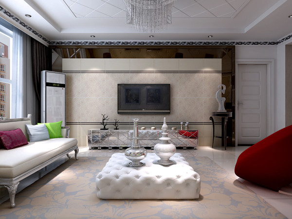 简欧风格的造型墙,搭配上纯白色的欧式家具,时尚又不失档次。