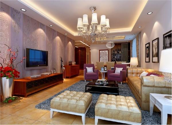 【成都实创装饰】锦城世家—简欧风格—三居 装修参考—整体家装—客厅装修效果图 高贵.典雅的紫色与成稳.端正的棕色,为您营造一个优雅自然的起居室.