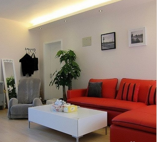 热情的红色皮沙发、茂盛的发财树,与洁白的主调结合在一起,很有活力的搭配。