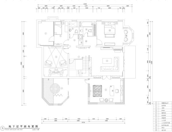 560平米壹仟栋218美式乡村风格独栋别墅地下室平面布置图