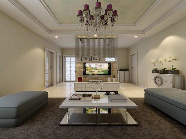 空间是一个整体的完全通透式空间,中式的设计了半高墙成为了电视背景墙,另一半的高度用细线的吊帘来装饰,很纤细的效果,给人柔美、清灵感,让空间通透但是保持了明确的分界点。