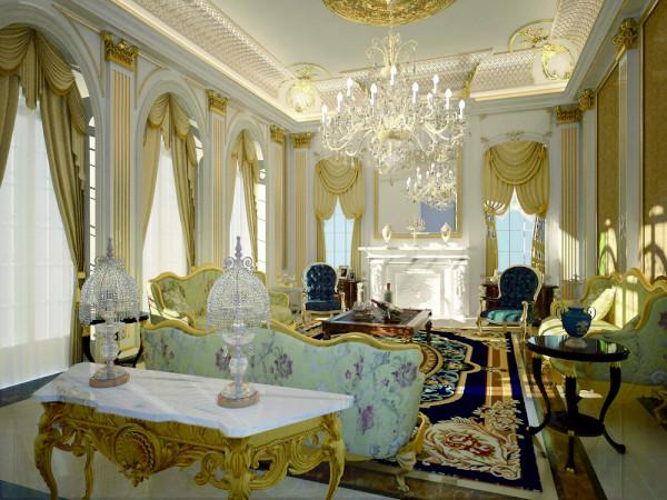 远洋·LA VIE欧式风格独栋别墅客厅装修效果图