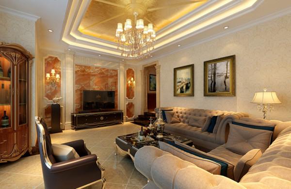 设计理念:米黄色的墙面,白色的造型,金色的顶面,灰白色、栗色色调,搭配少许香槟金色的使用,在低调的单色世界里融合了奢华的气息。
