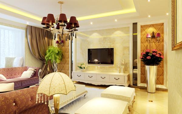 客厅采用干挂大理石,易清洁,耐用,质感墙。