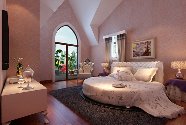 设计理念:空间整体采用粉色格调,温馨典雅体现女孩子的柔美。房间整体设计简单华丽,更能图像主人的高雅气质。