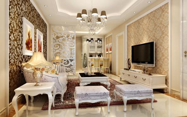 设理念:温暖的色调,干净而整洁的白色,两者碰撞出了现代欧式风格。 亮点:简单勾勒的素线,划分了电视和沙发的背景墙,配上欧式家具和简约而不简单的吊顶,增加了现代欧式风计格的特点,同时明确了空间。