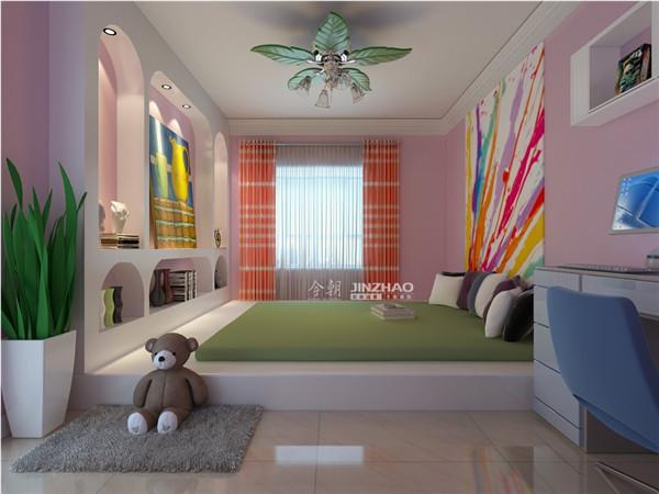 清新的颜色,墙面的炫彩涂鸦、以及橙色窗帘映射的阳光玩具小熊的出现,让这里变成了儿童乐园。
