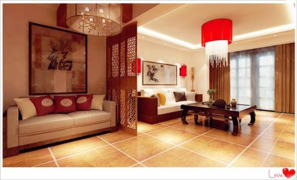 简约三居中式小资白领复式地下室客厅装修效果图片图片