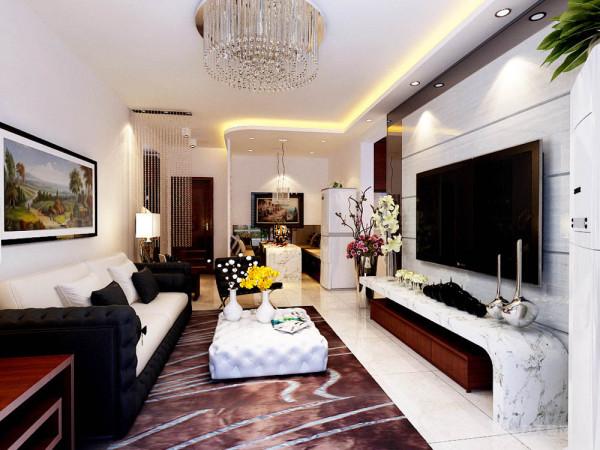 本方案主要采用了现代简约的设计风格,整体给人一种简洁、明快的感觉。客厅电视背景墙为石材与黑色烤漆镜面结合的造型为主,大气、美观,沙发背景墙以一副简单的现代风格画加以装饰,使