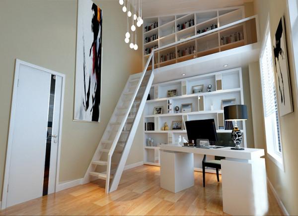 【成都实创装饰】卓锦城—loft 复式 —现代简约风格—整体家装—书房装修效果图 挑空 原先的书房是个尖顶业主觉得封掉太浪费了,所以我们将它设计为小复式的感觉