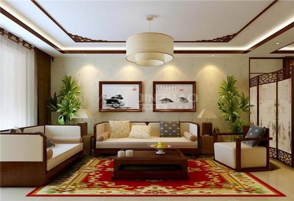 客厅作为待客区域,是主人的对外空间,这里的沙发设计十分别致,另外添加了很多中国水墨画的元素在空间中,简单素雅的灯饰,让整个客厅简洁,却处处能品味到深厚的文化深度。