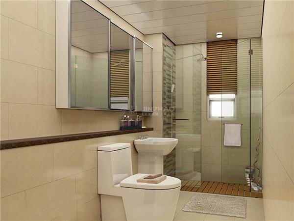 洗浴间里有防滑的设计,这样的细节尤其体贴,反应了主人细致全面的生活习性。