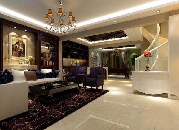 【成都实创装饰】卓锦城—loft 复式 —现代简约风格—整体家装—客厅装修效果图 休闲区 休闲区的设计主要是休闲娱乐的地方,所以增加了雪茄吧,以及吧台的设计。