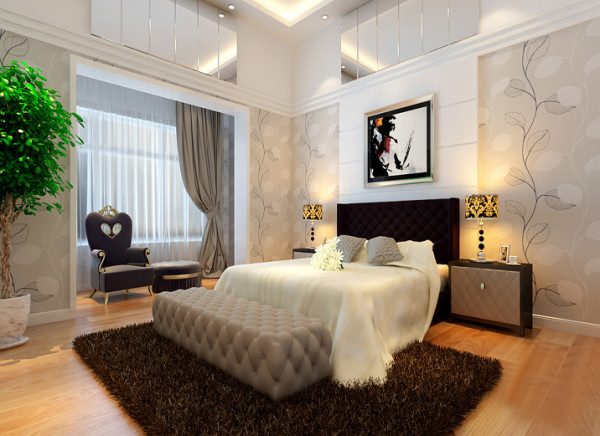 【成都实创装饰】卓锦城—loft 复式 —现代简约风格—整体家装—卧室装修效果图 纯白 卧室的设计则使用了大面积的白色作为主色调