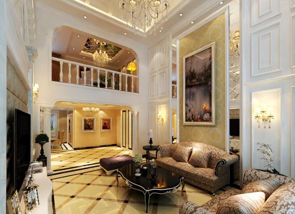 【成都实创装饰】复式—loft 简欧风格—整体家装—客厅装修效果图 镜面 复式独有的挑空式设计感,在背景墙的设计上则分为两部分删繁就简打造镜面与软包的结合,加上一大面的挂画。