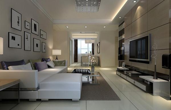 客、餐厅装修效果图,室内墙面、地面、顶棚以及家具陈列乃至灯具器皿等均已简洁的造型、纯洁的质地、精细的工艺,给人带来前卫、不受拘束的感觉。