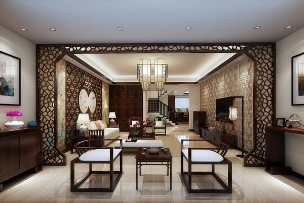 白色洞石、米黄理石浮雕、素色丝线编织壁纸、彩色手绘壁纸、素色亚麻和皮革屏风、实木浮雕墙板和简明的明式家俱。