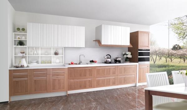 新贵系列  贝弗龙 Beuvron-en-Auge  材质  吊柜:吸塑  地柜:包覆  台面材质:亚克力  装修风格:田园风格