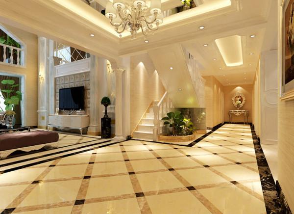 【成都实创装饰】复式—loft 简欧风格—整体家装—客厅装修效果图 石材  地面的拼花选用较为简洁的,走廊尽头的设计为玄关装饰,楼梯下方有绿植整体感觉很协调。
