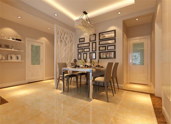 餐厅是家具生活的心脏,不仅要美观,更重要的实用性,整体性。  设计亮点:1、餐厅的灯光很重要既不能太强又不能太弱,所以设计中灯光则以温馨和暖的黄色为基调,顶部做了简单的吊顶;。