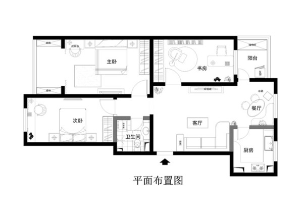 亮点:客餐厅的拼花地板延伸到次卧空间,整个起居室内秋香色壁只搭配白色家私,简单陈设与书桌等规划也预留了未来空间的成长性 。