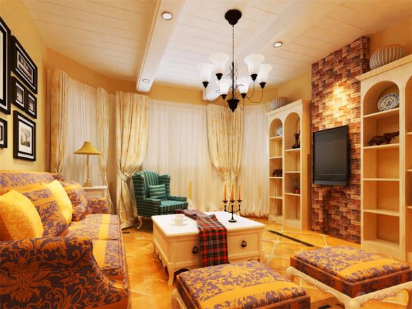 墙体颜色给暖黄色,给人的感觉非常的舒适,沙发为紫色。电视背景墙用天然墙砖,突出接近自然的气息