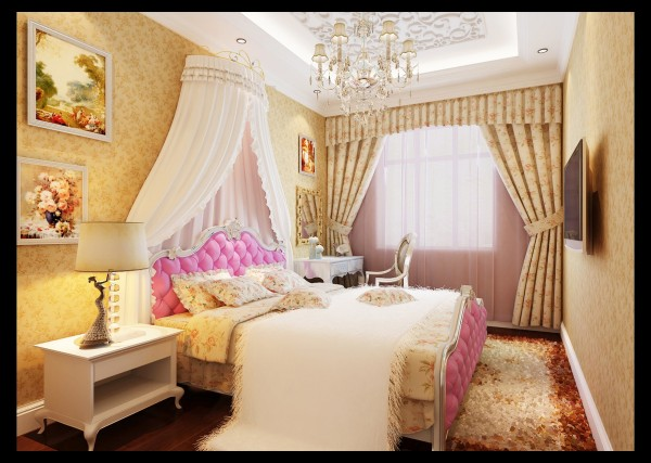 女儿房:帐篷式的儿童房,充满了公主味的调皮气息,高贵的紫色陪衬下,显得更有公主风范了。