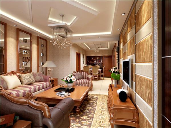 客厅效果图2:优美的弧线,精雕细琢的细节处理,可以给主人带来无尽视觉美的同时,带给主人触觉上的完美感应。
