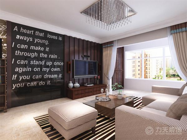 客厅部分做了石膏板异型吊顶的效果,所以在背景墙上没有做过多造型,只是做了简单的隔板做装饰;整个客餐厅都选用了奶咖色的乳胶漆做统一,温馨、舒适