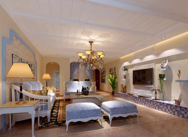 【成都实创装饰】光华逸家—地中海田园风格—整体家装—客厅装修效果图 创意背景墙 地中海风格的背景墙主要以白色为主,在米黄色的墙面上更显得纯白无暇。