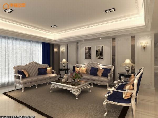 茶镜的直向线条分割出安定、优雅的对称比例,其间以华丽的白色法式线板装饰,衬托金属边框的古典造型家具。 (此为3D合成示意图)