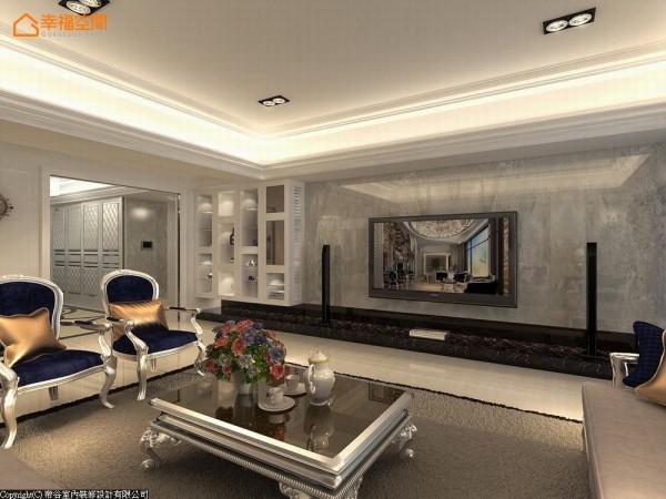 黑色与灰色大理石的纹理,利落展现客厅的气派尺度,衬托左侧时尚、细腻的精品展示柜。 (此为3D合成示意图)