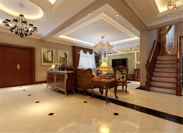 设计亮点:1、门厅给人一种神秘古典华丽的特色;2、以地面拼花与造型吊顶相呼应;3、典雅的水晶灯配上镂空隔断定义了整个房间的古典基调,墙面的古典绘画显示出业主的身份与品位。
