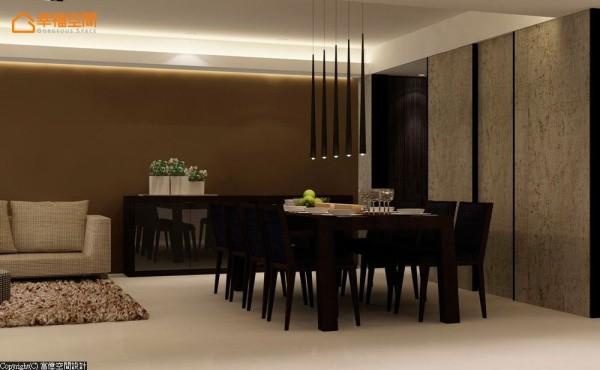 开放式的餐厅以石板墙面为基调,营造出原始粗旷的质感,并使用了球棒式的灯具增添赏心悦目感觉。 (此为3D合成示意图)