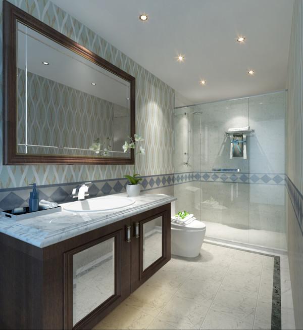 华贸城三居室新古典风格卫生间效果图展示