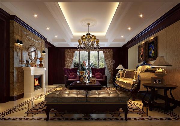 沙发背景墙十分有质感,加上艺术挂画,华丽的灯饰,和地毯的精美花纹,让整个空间高贵大气,呈现出一种欧式的优雅气质。