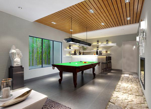 【成都实创装饰】达观山—双流联排别墅—现代极简风格—整体家装—休闲室装修效果图 吧台 柔和的曲线展现于墙面,能作为放置小物件的隔板,下面是一组灯源。