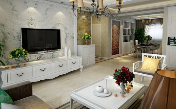 客厅中多以浅色为主,暖色的基调和柔和的线条,让象牙白的家具占领居室,色彩明亮的花草灵动整个居室的氛围。为整个空间营造了一种温馨轻松的装饰效果,相比略显冷硬的现代风格显得更加素雅温馨。