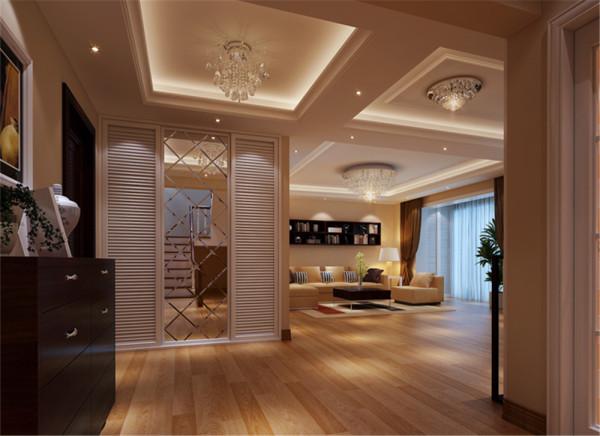 入户门放了一组收纳衣帽柜,并用镜面做装饰使整个空间更宽敞明亮。整个客厅运用简单的吊顶分区及豪华的水晶灯显简单大气,又不失品位。 亮点:空间色调一致,通透性好。