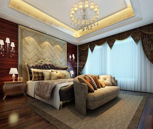 这件卧室的设计相对更加华丽,用色沉稳,墙面处理用了棕色红木来装饰,每个细节都体现着主人深厚的文化品位。