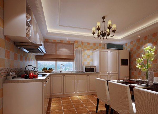 通过砖颜色的搭配使原本枯燥的厨房活跃起来,使用功能上增加一组高柜,使收纳最大化。  亮点:顶面打破传统的吊顶,运用造型使整个空间不会很压抑。