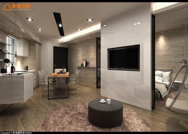 卡拉拉白大理石主墙藏起活动式的灰玻隔间,以环状动线概念串起卧室、餐厨、客厅三个机能;并于靠窗侧设置玻璃球吊椅,打造舒适自在的度假生活机能。 (此为3D合成示意图)